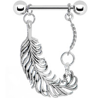 Stainless Steel Fine Feather Nipple Ring | Body Candy Body Jewelry