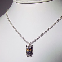 Swarovski Little Owl Charm Necklace, Christmas Gifts, Mom Jewelry, Yellow Rhinestone Necklace, Silver Necklace