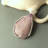 Lavender jasper silver pendant, purple amethyst beaded natural stone, lilac sterling silver jewelry