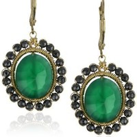 Dana Kellin Hematite Edged Green Onyx Oval Drop Earrings