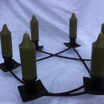Wrought Iron Candle Holder with six candles