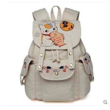 Anime Natsume Yuujinchou Cosplay 2017 new Korean version of the campus hand painted canvas bag leisure backpack