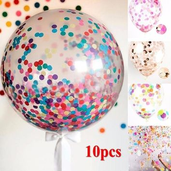 Hot Sale 10pcs 12'' Foil Confetti Transparent Latex Balloons Multicolor Balloon For Birthday Wedding Party