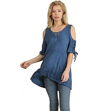 Umgee Women's Cold Shoulder Scoop Neck Tunic with Lace Up Drawstring Sleeves