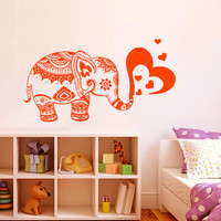 Wall Decals Vinyl Sticker Elephant Heart Indian Animals Mandala Ganesh Girl Boy Bedroom Kids Nursery Children Baby Room Home Decor ML95