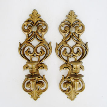 Wall Sconces Pair of Vintage Gold Burwood Candle Sconces Ornate Gold Candle Holder Vintage Plastic Wall Mount Sconces Hollywood Rengency