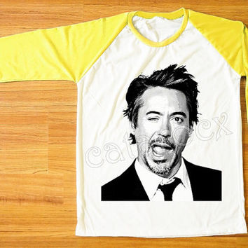 Robert Downey Jr TShirts RDJ Shirts Iron Man Wink Face Shirt Yellow Sleeve Women Shirt Men Shirt Unisex Shirt Raglan Baseball Shirt S,M,L