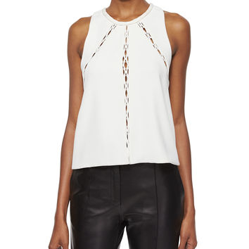 Buddy Sleeveless Cutout-Panel Top, Size: