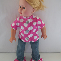 Handmade for American Girl Pink and White Top with Silver by vw53