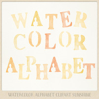Alphabet clipart Watercolor (104 pc) yellow orange tangerine sunny. hand painted clip art letters for designing cards printables wallart etc