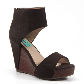 Diba True Shoes Shimmy Down High Heel Brown Suede Wedge Sandals