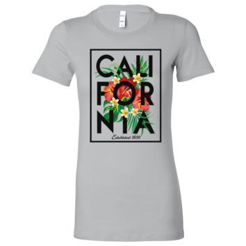 Cali Tropical Flowers Black Print Ladies Lightweight Fitted T-Shirt