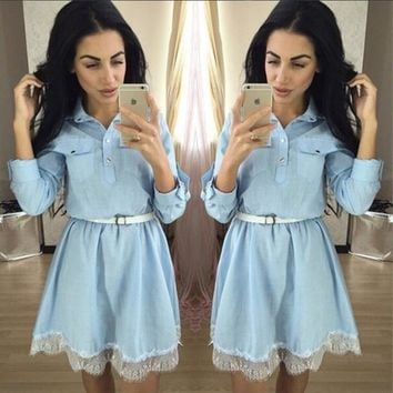 Light Blue Patchwork Lace Pockets Turndown Collar Cute Homecoming Party Mini Dress