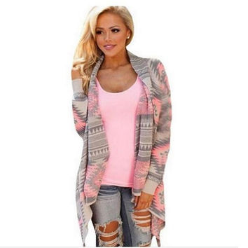 Sweater 2016 women cardigan Sweaters poncho collar long sleeve irregular asymmetrical printed loose-fitting shrug coat cardigans