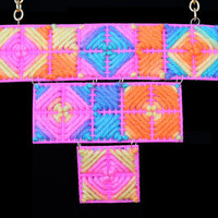 Psychadelic Trippy Hippie Tribal Tie Dye Reversible Bib Necklace