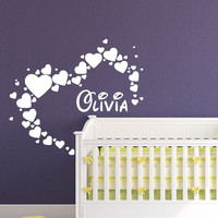 Girls Name Wall Decal Hearts Vinyl Sticker Custom Personalized Decal Home Bedroom Decor Baby Nursery Art T158