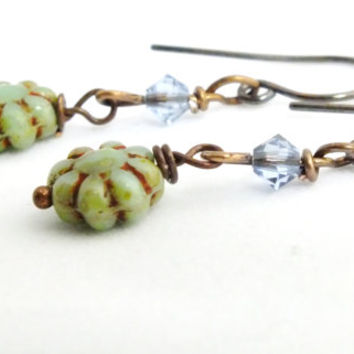 Antique Copper Czech Flower Earrings, Antique Copper Earrings, Flower Earrings, Czech Beaded Earrings, Green Earrings