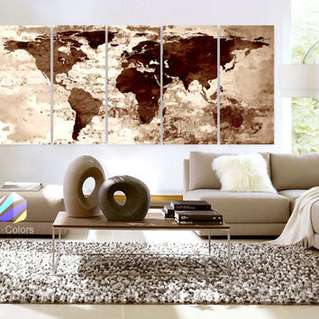 "XLARGE 30""x 70"" 5 Panels Art Canvas Print Watercolor Texture Map Old brick Cream Colored Brown Wall decor Home interior (framed 1.5"" depth)"