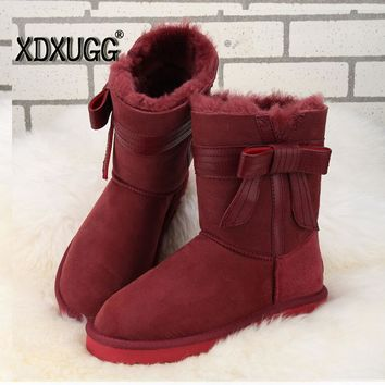 2017 Australia imported sheep fur and Shearling leather boots winter sheepskin women snow boots with bow anti-slip high quality