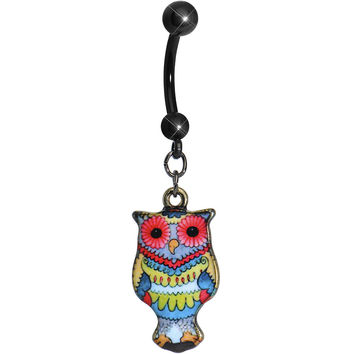 Red Flower Power Artistic Owl Dangle Belly Ring