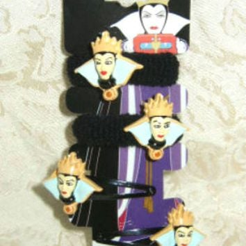 Licensed cool Disney Snow White 7 Dwarfs Evil Queen Hair Clips Barrettes Pony Tail holders NEW