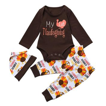 2018 New Newborn Infant Baby Girl Boy Letter Romper Tops+Pants Thanksgiving Outfits Set kids clothing baby girl boy clothes