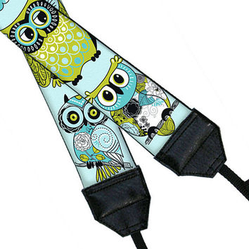 Camera Neck Strap DSLR Camera Strap SLR Padded Camera Strap Nikon Canon - Cute Owl blue green (Matching camera bag available)