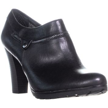 White Mountain Studio Front Zipped Ankle Boots, Black/Smooth, 11 US