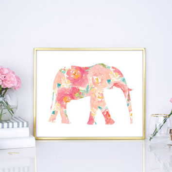 Floral Elephant Watercolor - Watercolor Elephant - 8x10 - 16x20 - DIY Printable - Pink Elephant - Home decor - Office Decor - Wall Decor -