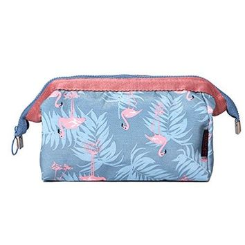 SHIP BY USPS: Itraveller Women Printed Travel Cosmetic Make up Coin Purses Pouch Bag (Blue Flamingo)¡­