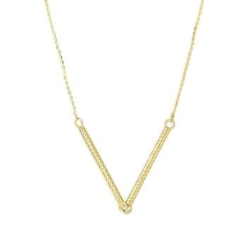 14K Yellow Gold Shiny 2-1.7x25mm Long Texture d Sideways Cylinder Shape Station On 0.87mm Diamon d Cut Cable Chain Type Necklace with Spring Ring C