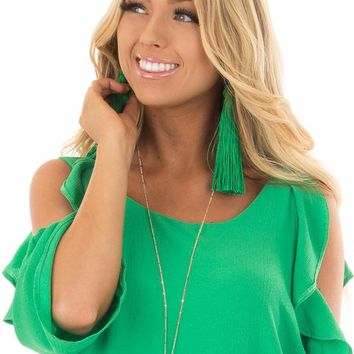 Kelly Green Knot and Long Tassel Earrings
