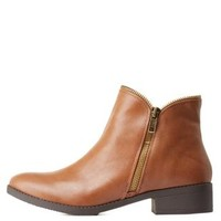 Brown Zipper-Trim Flat Ankle Booties by Charlotte Russe