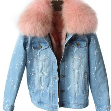 Shae Distressed Denim Fur Jacket Pastel Pink
