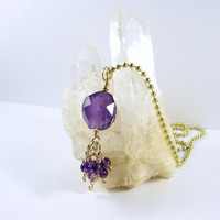 Genuine Amethyst Pendant Necklace 14k Gold Filled Talisman Style Gemstone