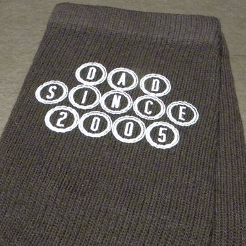 Fathers Day Gift Socks, Dad Since, Father's Day Gift Idea, Custom Printed Men's Crew Socks- Sold as a set of 3 pairs Black or White