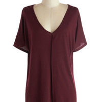 ModCloth Minimal Mid-length Short Sleeves Morning in the Studio Top in Burgundy