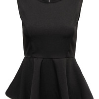 Black Sleeveless T-shirt with Ruffle Hem