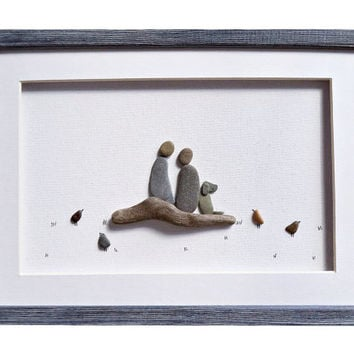 Pebble art couple and dog, Dog lovers gift, Romantic anniversary gift for her/ him, Christmas gift for best friend, Unique gift for couple
