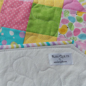 Easter Table Runner Quilt - Yellow, Blue, Pink, Green, Spring Pastels - Easter Eggs, Baby Chicks