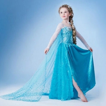 Kids Girls Dresses Elsa Anna Frozen dress costume Princess Elsa party dresses = 1945923460