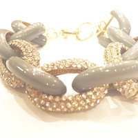 Chain Link Enamel and Pave Bracelet- Grey