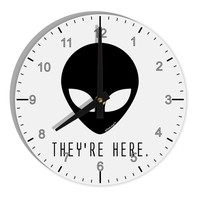 "Alien They Are Here 8"" Round Wall Clock with Numbers"