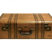 Chevron Stripe by Dresden Suitcase Hard Body / 1930s 1940s Stackable Luggage Home Decor / Tweed Suit Case / Large Suitcase