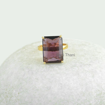 Amethyst Quartz Gemstone Faceted Octagon 12x16mm Micron Gold Plated 925 Sterling Silver Prong Ring Jewelry - #9902