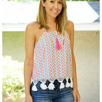 Zigzag multicolor print top with tassels | Janet | escloset.com
