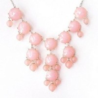 Silver Tone Chain New Color Bubble BIB Statement Fashion Necklace - Pink