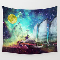 Galileo's Dream - Schooner Art By Sharon Cummings Wall Tapestry by Sharon Cummings