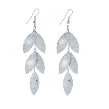 Shining Leaves Dangle Long Earrings For Women