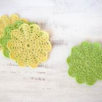 Crochet flower coasters, lime green and yellow cotton placemat doilies, set of 4, crochet table decor